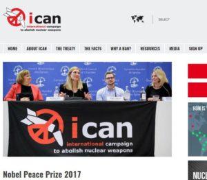 ノーベル平和賞受賞が決まった国際NGO「核兵器廃絶国際キャンペーン」(ICAN)のHPより